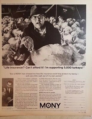 Advertising-print 1967 Mony Mutual Of New York Life Insurance Turkey Hatchery Vintage Ad Pretty And Colorful Historical Memorabilia