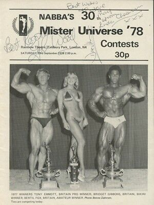 Multiple Signed 1978 NABBA Mr Universe Programme Frank Zane Bertil Fox Cheeseman