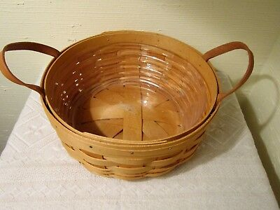 "2001 Longaberger Round Basket 2 Leather Handles/plastic Protect. 10"" X 4 1/2"" T."