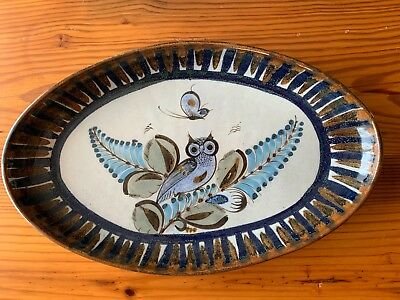 """Vintage Ken Edwards 15"""" Oval Serving Platter with Owl and Flowers Tonala Mexico"""