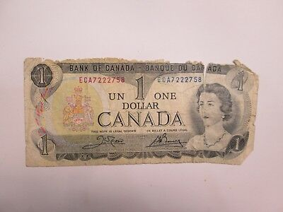 1973 Bank Of Canada 1 Dollar Bank Note