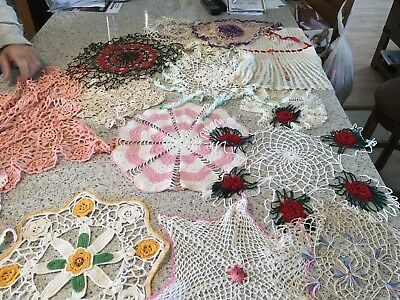 Lot Of 17 Vintage hand crocheted embroidered doilies lot Multi-colors Lovely!