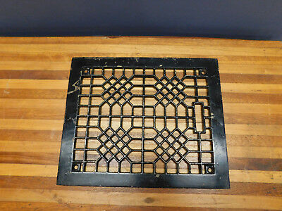 Antique cast iron vent cover floor grate geometric design