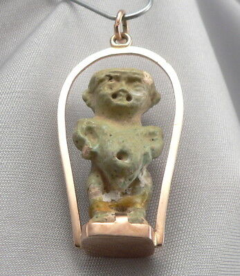 Antique Egyptian Faience 14K Gold Mounting Pendant Pataikos Amulet of Ptah ?