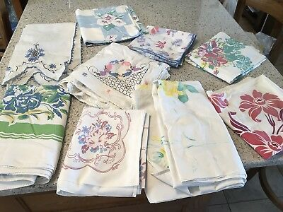 LOT Of 9 Vintage Tablecloths Embroidered Fruit Floral MidCentury Card Table Size