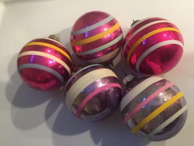 Vintage Christmas Shiny Brite Glass Ornaments-Stripes-Assorted Lot of 5