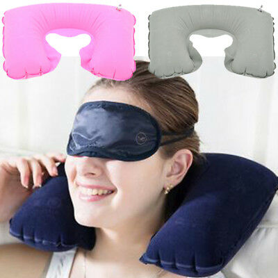 Inflatable Support Soft Rest Neck Cushion Head U Shaped Air Pillow Flight Carry