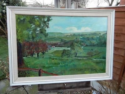 really old PAINTING large oil  FARM LANDSCAPE signed