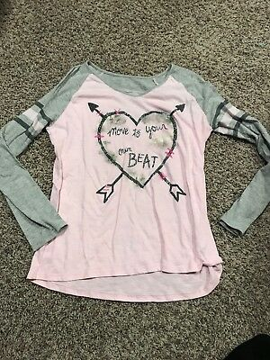 "EUC Justice Size 20 Pink And Gray Long Sleeve Shirt ""Move To Your Own Beat"""