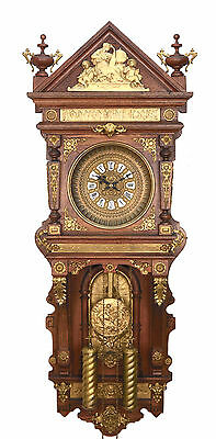 """46"""" Highly Brass Decorated Ansonia Antique Hanging 2 Weight Driven Wall Clock"""