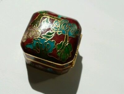 Vintage Chinese Floral pattern Square Red Cloisonne box