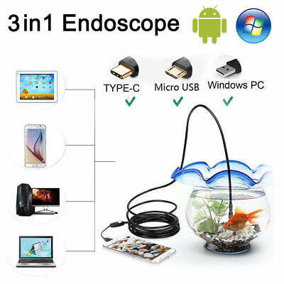 6 LED USB Endoscope Borescope Camera Inspection For Mac OS Android PC Waterproof