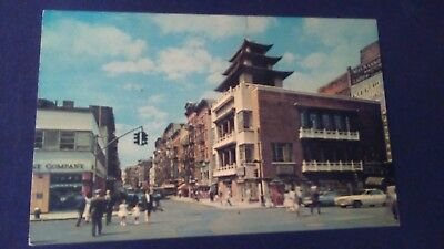 Schöne ältere AK New York City Canal and Mott Streets Chinatown ungel. 1964 ny2