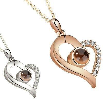 NEW! Silver Rose Gold 100 Languages Light I Love You Projection Pendant Necklace