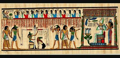 **Rare** Genuine Hand Painted Authentic Egyptian Papyrus (The Judgment of Osiris