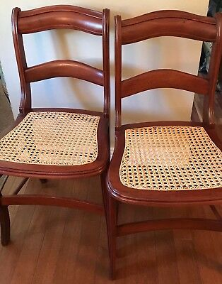 Vintage Chair Cane Seat Restored Set of 2
