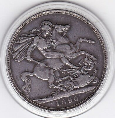 1890   Queen  Victoria Large Crown / Five Shilling Silver  Coin