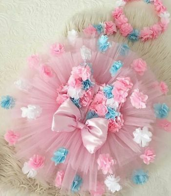Sleeveless Kids Baby Girls Flower Bow Pageant Party Tulle Princess Formal Dress