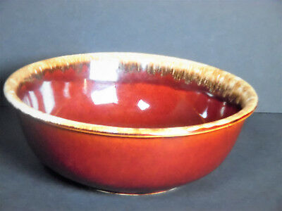 """Vintage H.P. (Hull) 10"""" Brown Drip Glaze Mixing Bowl/Oven Proof USA/Collectible"""