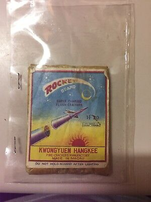 ROCKET BRAND SUPER CHARGED FIRECRACKERS LABEL 20'S MACAU 1960'S ~Label Only~