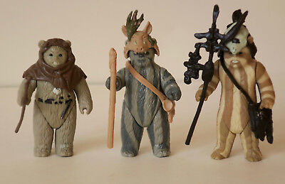 Star Wars lot of 3 vintage action figures ewoks Logray Chirpa Teebo complete