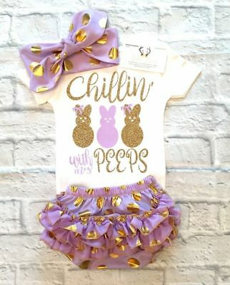 AU Newborn Baby Girls Easter Bunny Romper Bodysuit Ruffles Pants Outfits Clothes