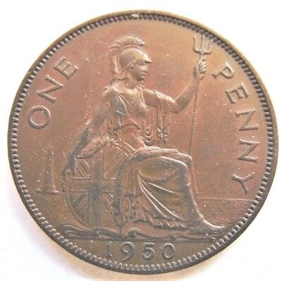 1950 Great Britain George Vi, Brown  Penny  Extra Fine.