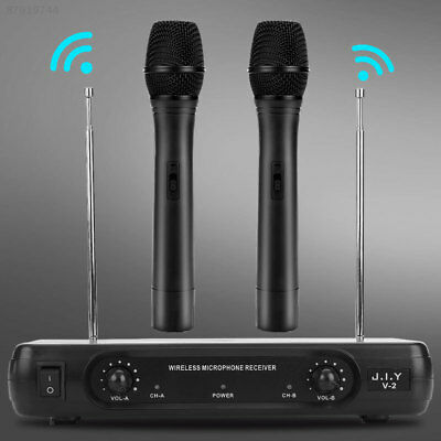 UHF Wireless Microphone System LCD Display+Dual Handheld Mic Party KTV Cordless.