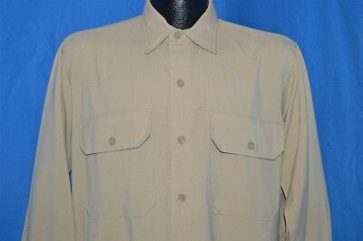 vintage 40s SMOKER'S PARADISE KHAKI RAYON BUTTON DOWN GUSSET MEN'S SHIRT LARGE L