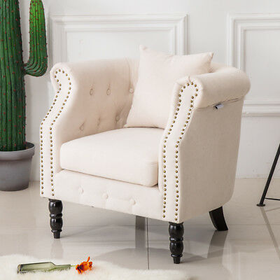 Chesterfield Button Stud Sofa Chairs Living Room Lounge Seat Fabric Tub Armchair