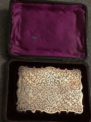 Stunning  Victorian Antique Solid Silver Card Case