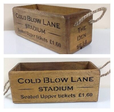 THE DEN SE14. Antique / Vintage style wooden crate box. Millwall Cold Blow Lane.