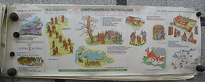 Wall Picture Geschichtsfries Christianisierung 139x50 Vintage History Card 1965