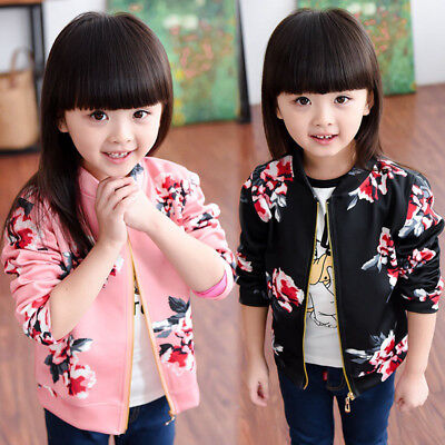 Kids Girls Floral Bomber Jacket Zip Up Short Coat Tops Outwear Clothes 1-5Y