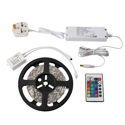 SAXBY FLEXLINE Indoor 5M RGB LED Dimmable Strip Tape Light Kit for Home Office