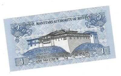 Bhutan 2013 Uncirculated 1 New Ngultrum Currency Banknote Serial # I02837302
