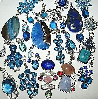 Huge Selection Small-Large Silver Necklaces With Blue Gemstones On Silver Chains