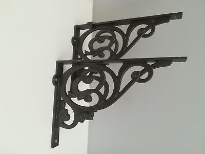 Pair Victorian Style Cast Iron Shelf Brackets Vintage Art Antique  9 x 7ins