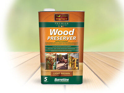1L&5L Barrettine Light Brown PREMIER Wood Preserver stain paint shed fence