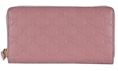 99076f096a2 Gucci Signature Rose Baby GG Large leather zip around wallet Pink Box Italy  New