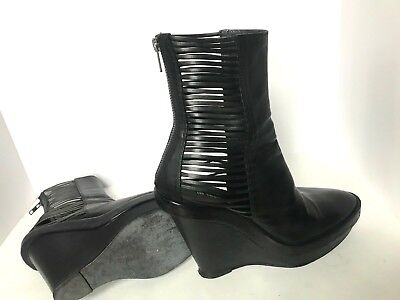 81fc438b091 ANN DEMEULEMEESTER LEATHER Platform Wedge Ankle Boots Size 40