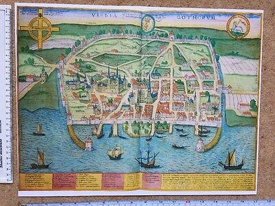 Old Historic Antique Map Visby, Sweden: 1598 by Braun & Hogenberg REPRINT 1500's