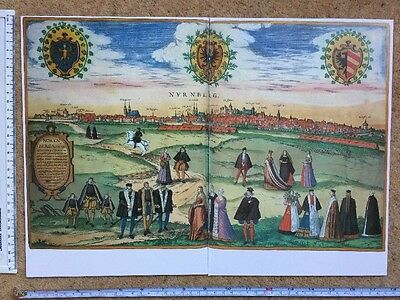 Old Historic Antique Map Nuremberg, Germany 1575 Braun & Hogenberg REPRINT 1500s