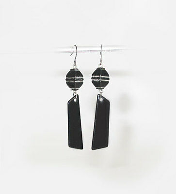 "~VTG 50's NOVELTY BLACK ARTICULATED ""MODERN MOBILE""  MELAMINE  EARRINGS!~~"
