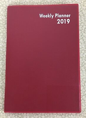"""2019 Red WEEKLY Purse Planner Calendar Organizer Appointment Book 5""""x7.5"""""""