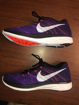 newest 460e0 5080b Nike Flyknit Lunar 3 Running Shoe Purple Black Concord 698181-014 MENS SIZE  11.5