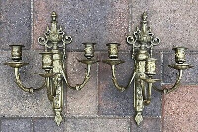 Antique French Pair Ormolu Triple Light Candle Sconces Heavy Bronze
