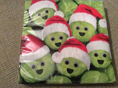 BNIP New Pack of 20 Christmas 3Ply Paper Napkins 33x33cm - Sprouts in Santa Hats