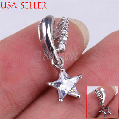 925 Sterling Silver Twinkle Little Open Star Pentagram Pendant 5mm * 20mm V476