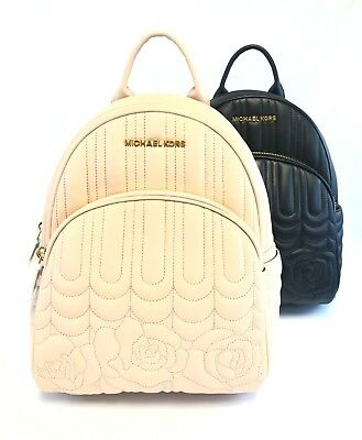 722a7d02e2fe Brand New Women s Michael Kors Abbey Quilted Floral Leather Medium Backpack  Bag